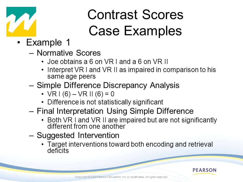 Contrast Scores Case Examples