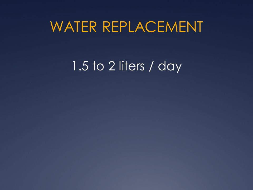 WATER REPLACEMENT 1.5 to 2 liters / day