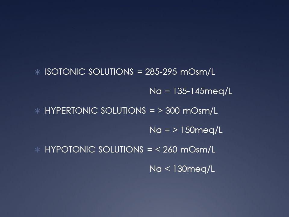 ISOTONIC SOLUTIONS = 285-295 mOsm/L
