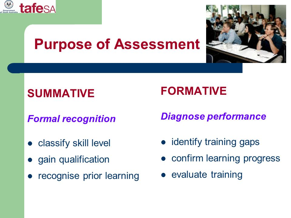 Purpose of Assessment FORMATIVE SUMMATIVE Diagnose performance