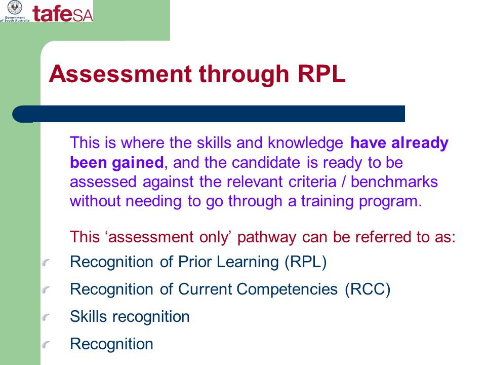 Assessment through RPL