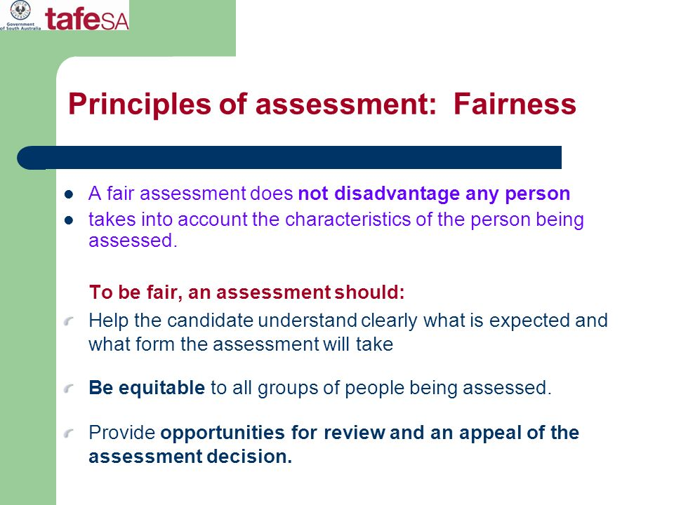 Principles of assessment: Fairness