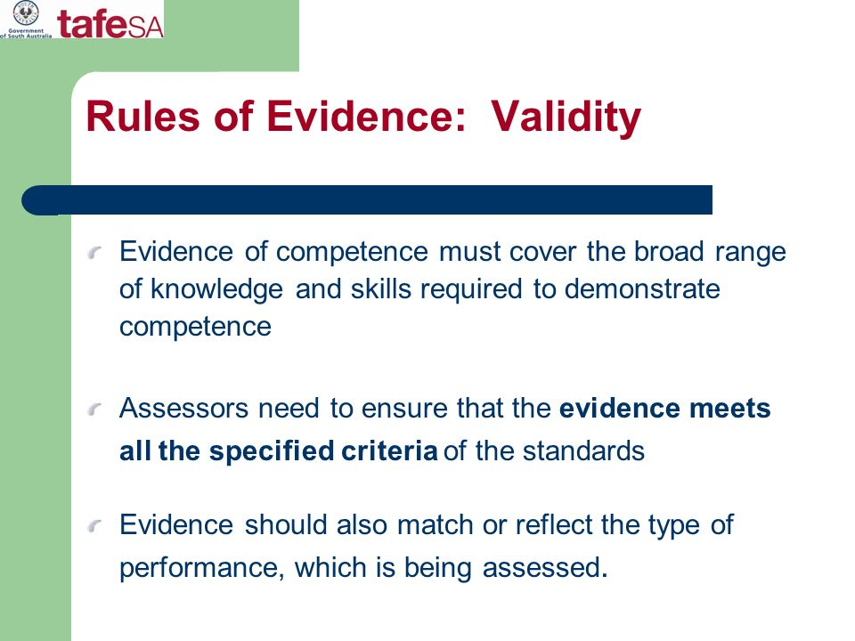 Rules of Evidence: Validity