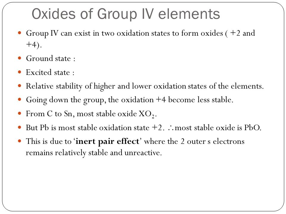 Oxides of Group IV elements