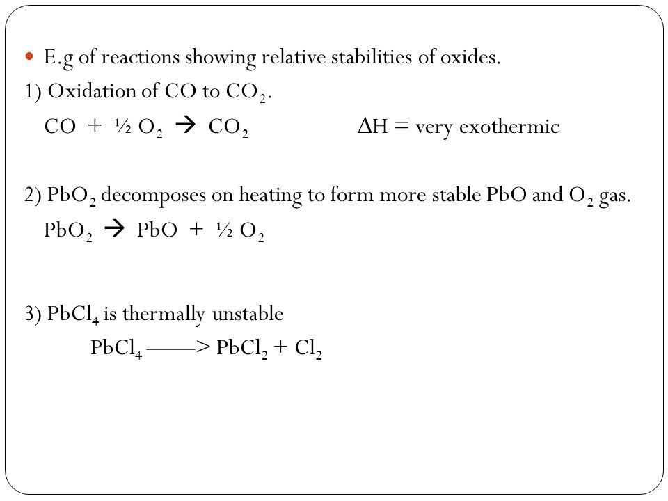 E.g of reactions showing relative stabilities of oxides.
