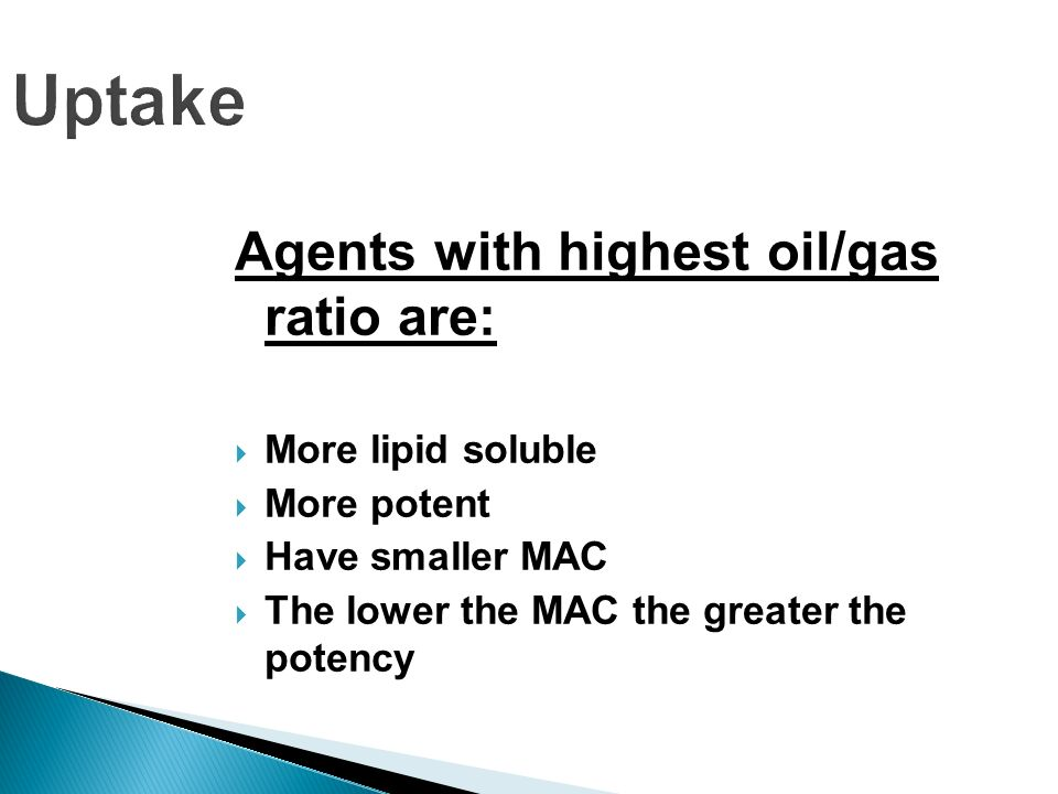 Uptake Agents with highest oil/gas ratio are: More lipid soluble