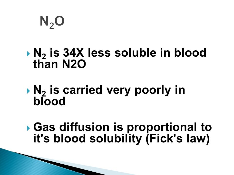 N2O N2 is 34X less soluble in blood than N2O