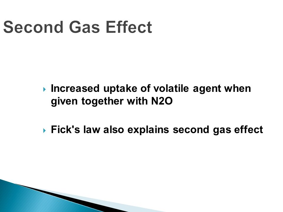 Second Gas Effect Increased uptake of volatile agent when given together with N2O.