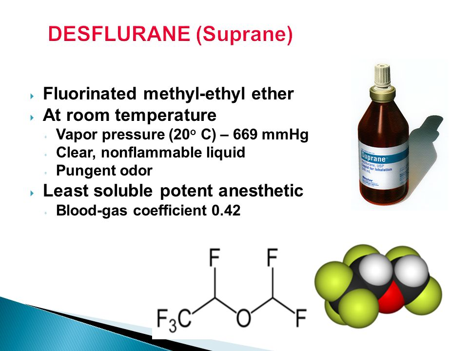 DESFLURANE (Suprane) Fluorinated methyl-ethyl ether