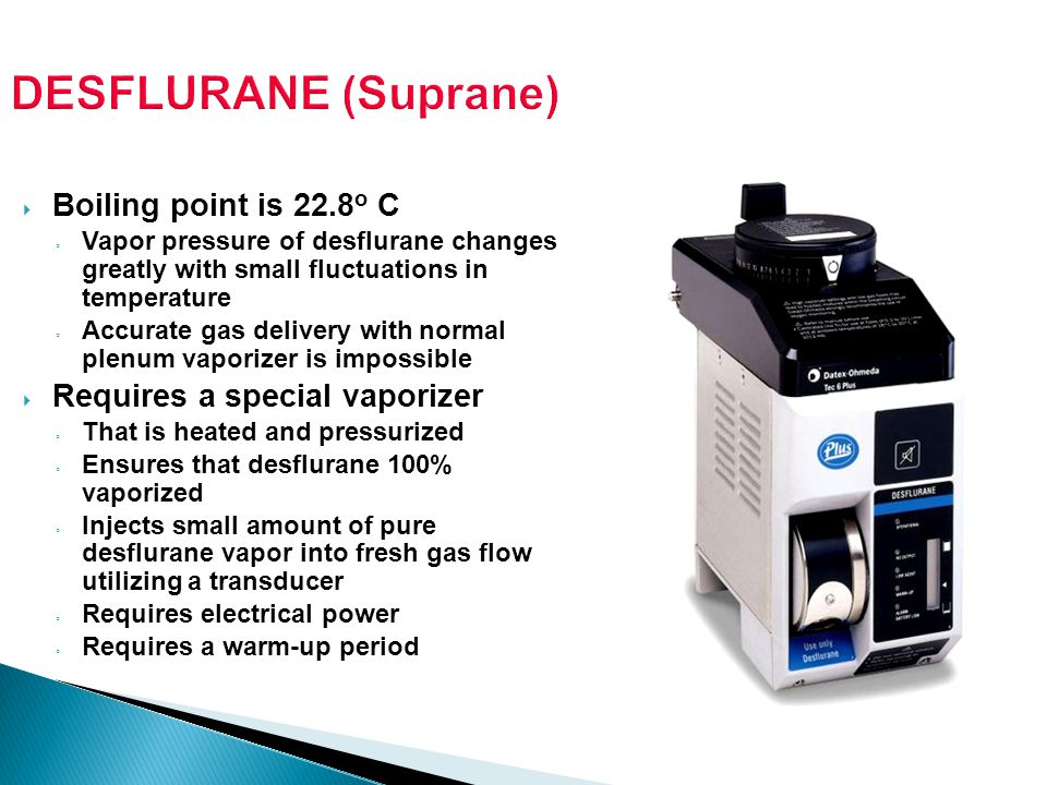 DESFLURANE (Suprane) Boiling point is 22.8o C