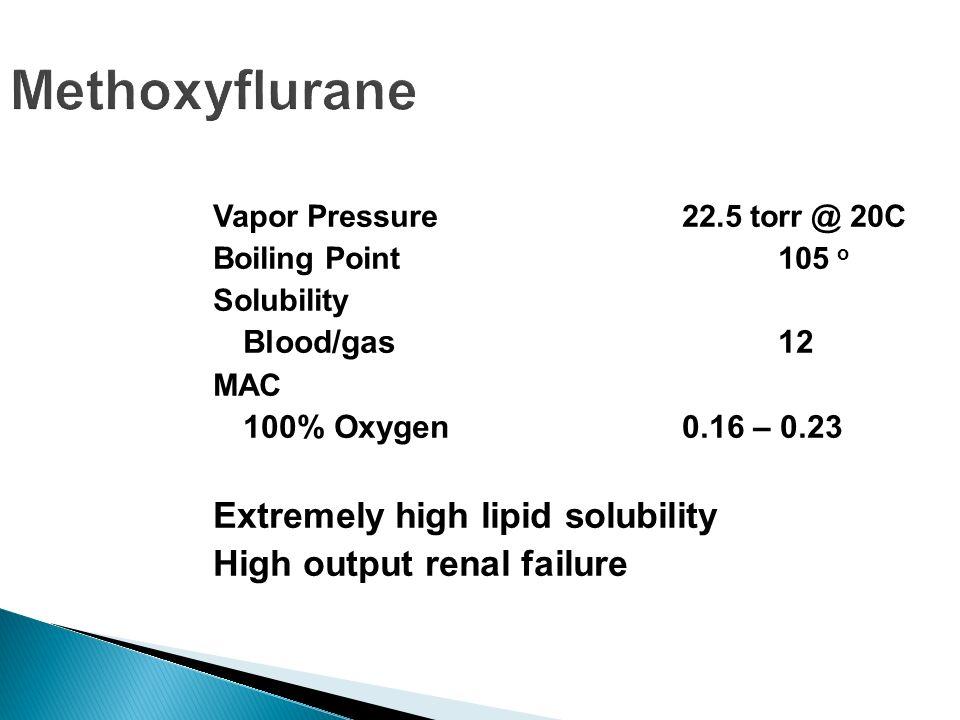 Methoxyflurane Extremely high lipid solubility