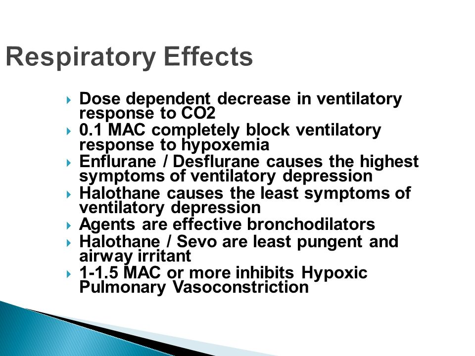 Respiratory Effects Dose dependent decrease in ventilatory response to CO2. 0.1 MAC completely block ventilatory response to hypoxemia.