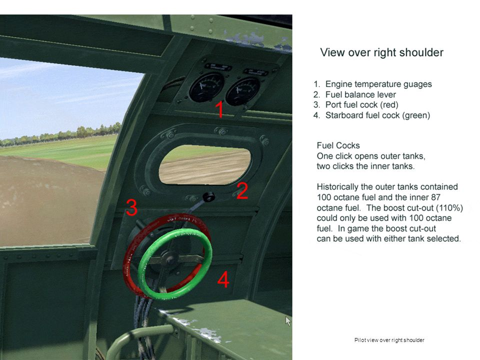 Pilot view over right shoulder