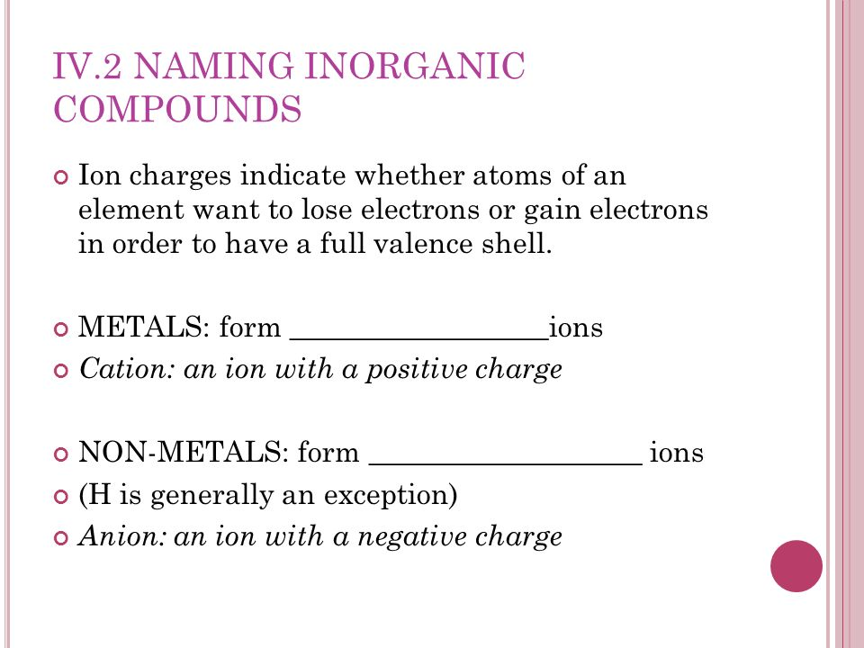IV.2 Naming Inorganic Compounds