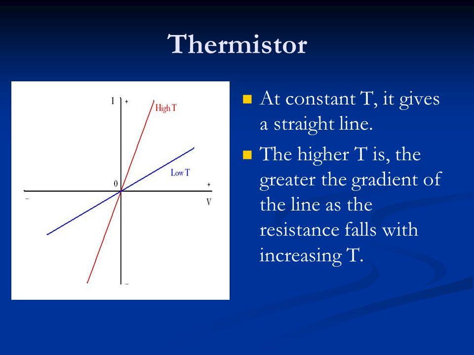 Thermistor At constant T, it gives a straight line.