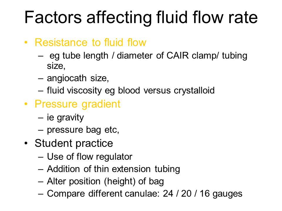 Factors affecting fluid flow rate