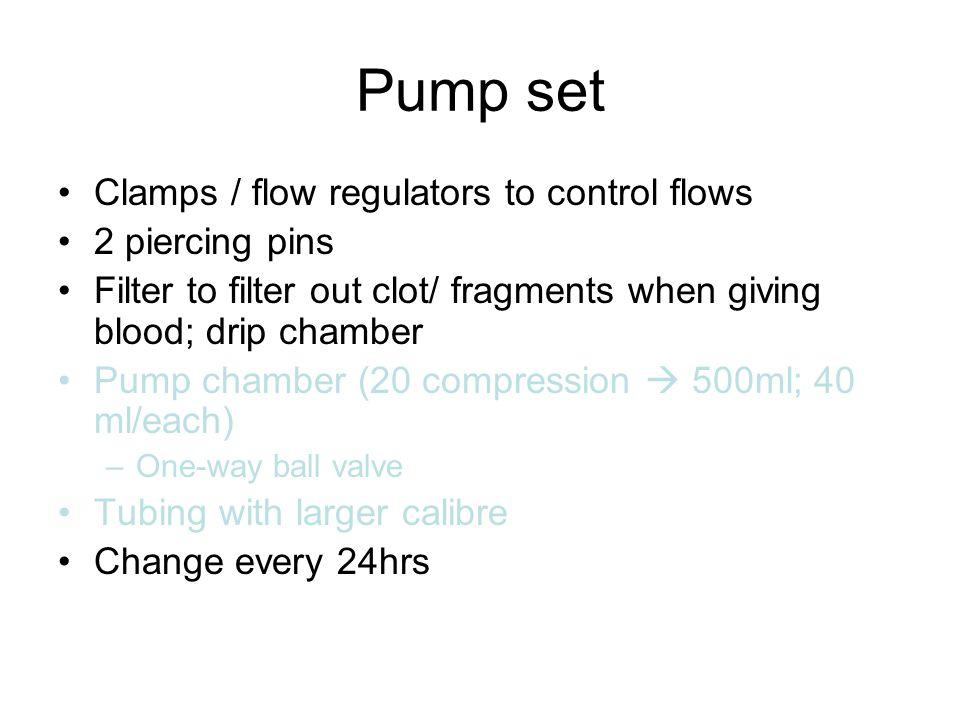 Pump set Clamps / flow regulators to control flows 2 piercing pins