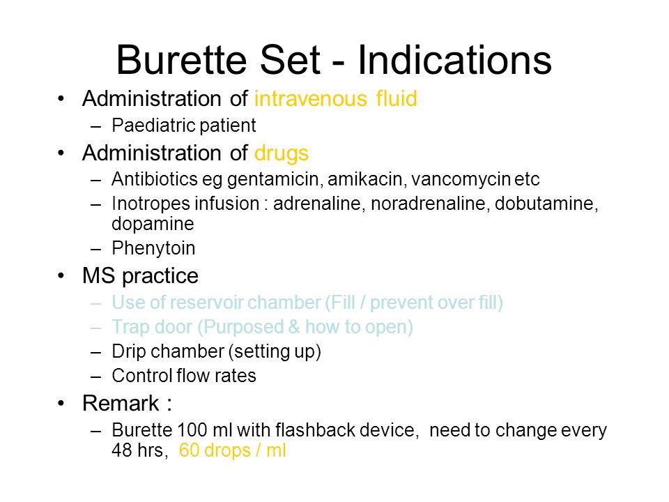 Burette Set - Indications