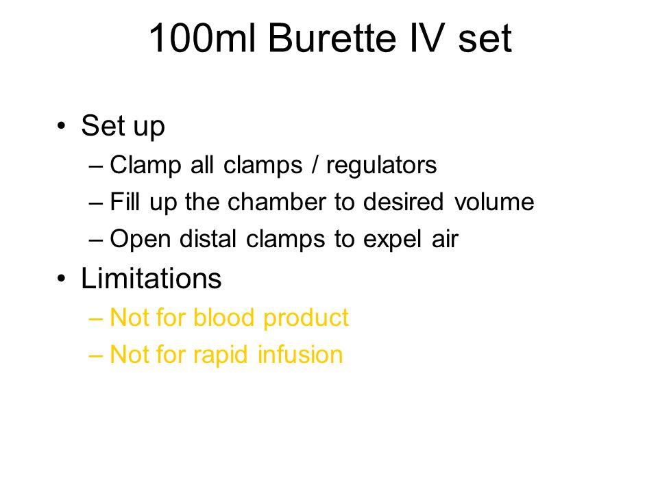 100ml Burette IV set Set up Limitations Clamp all clamps / regulators