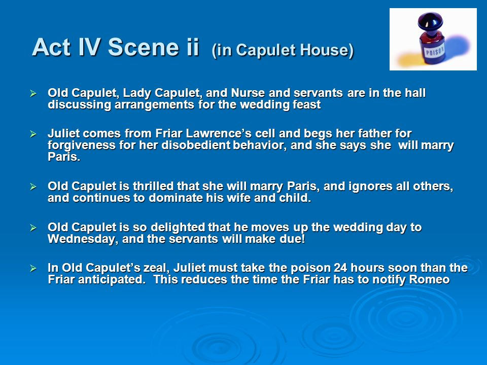 Act IV Scene ii (in Capulet House)
