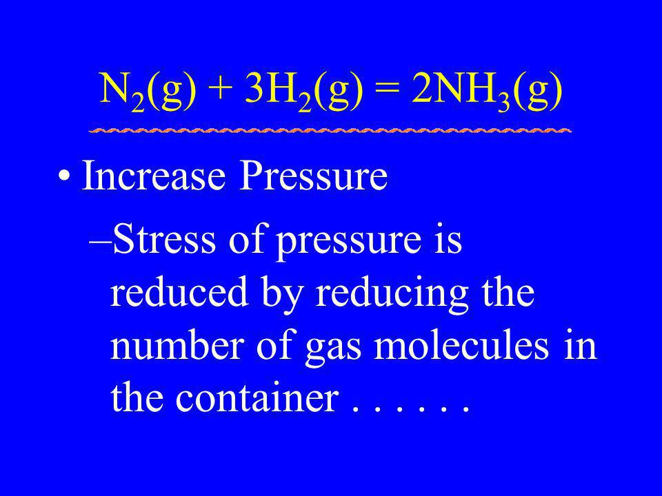 N2(g) + 3H2(g) = 2NH3(g) Increase Pressure.