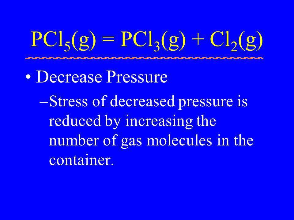 PCl5(g) = PCl3(g) + Cl2(g) Decrease Pressure
