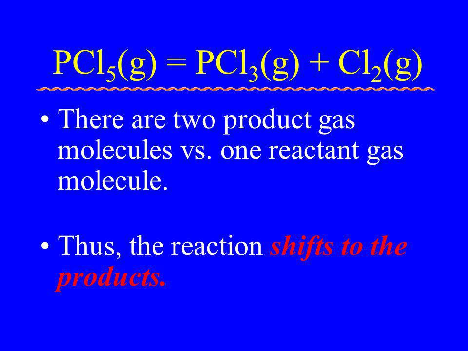 PCl5(g) = PCl3(g) + Cl2(g) There are two product gas molecules vs.
