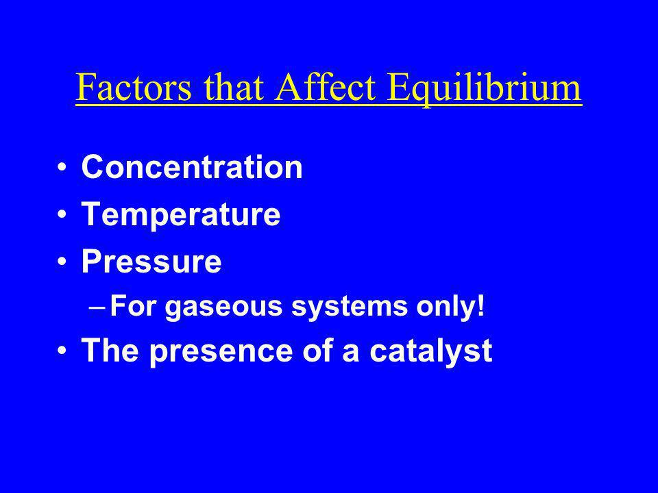 Factors that Affect Equilibrium