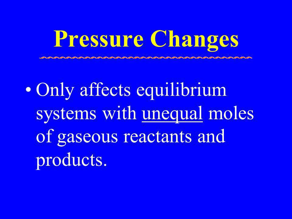 Pressure Changes Only affects equilibrium systems with unequal moles of gaseous reactants and products.