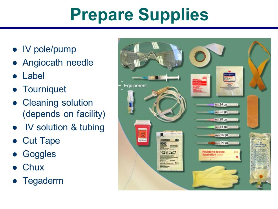 Prepare Supplies IV pole/pump Angiocath needle Label Tourniquet