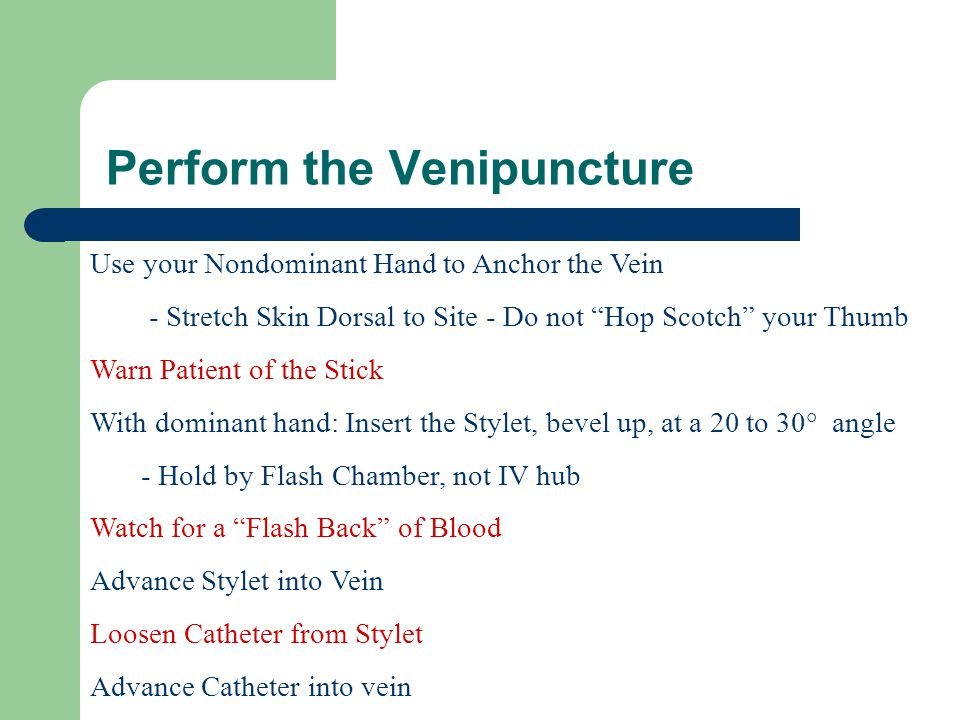 Perform the Venipuncture