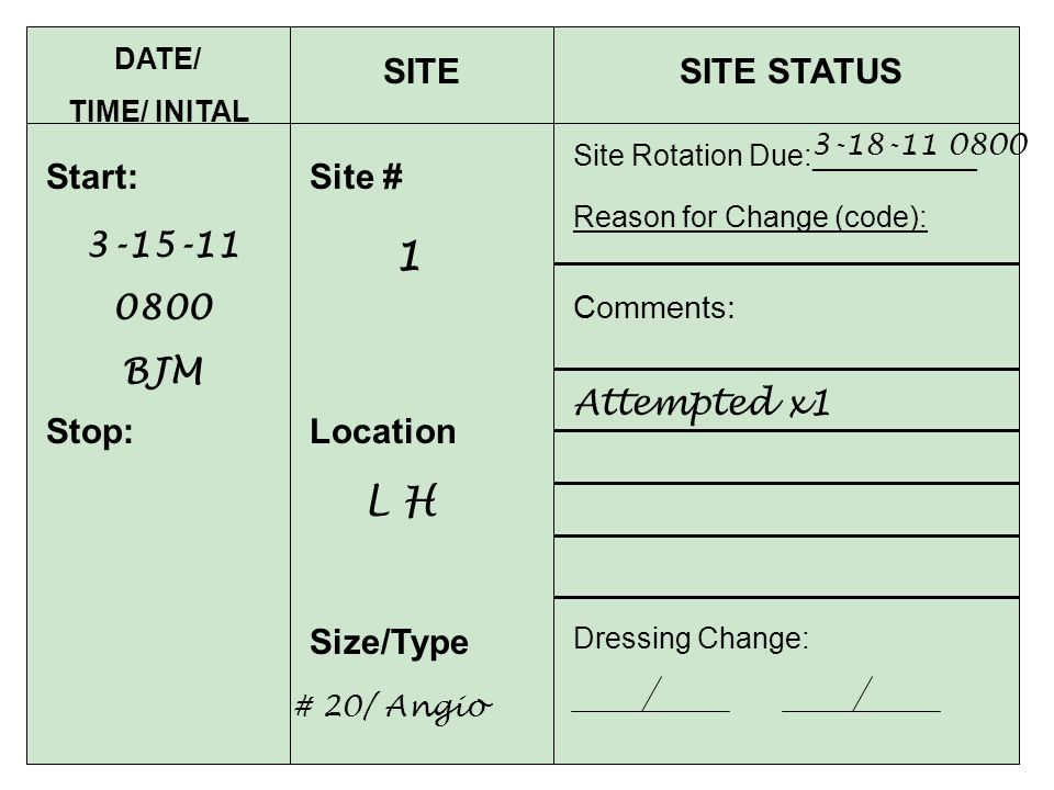 1 L H SITE SITE STATUS Start: Site # 3-15-11 0800 BJM Attempted x1