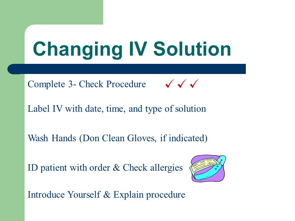 Changing IV Solution Complete 3- Check Procedure