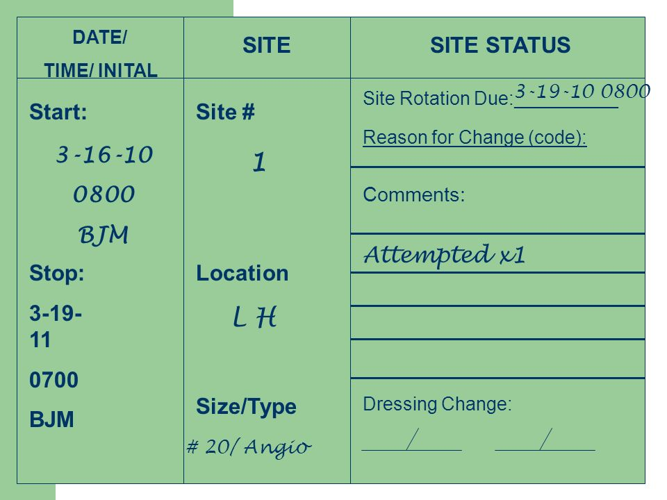 1 L H SITE SITE STATUS Start: Site # 3-16-10 0800 BJM Attempted x1