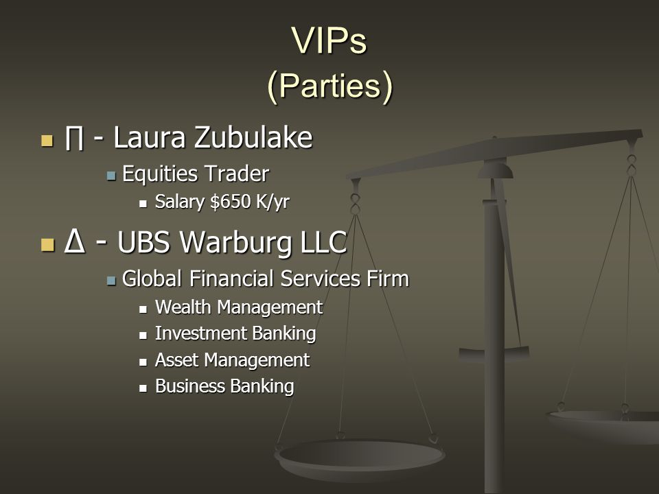 VIPs (Parties) ∆ - UBS Warburg LLC ∏ - Laura Zubulake Equities Trader