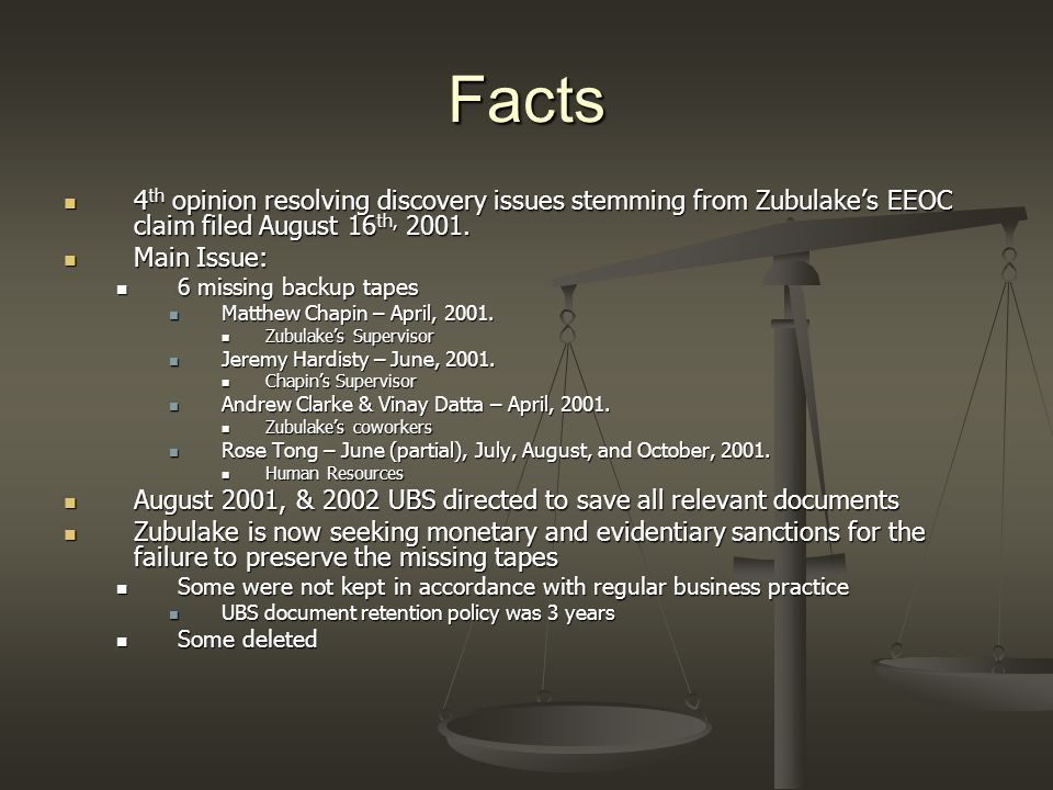 Facts 4th opinion resolving discovery issues stemming from Zubulake's EEOC claim filed August 16th, 2001.