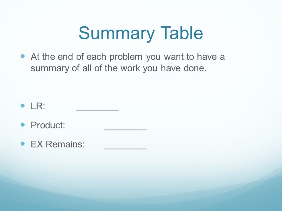 Summary Table At the end of each problem you want to have a summary of all of the work you have done.