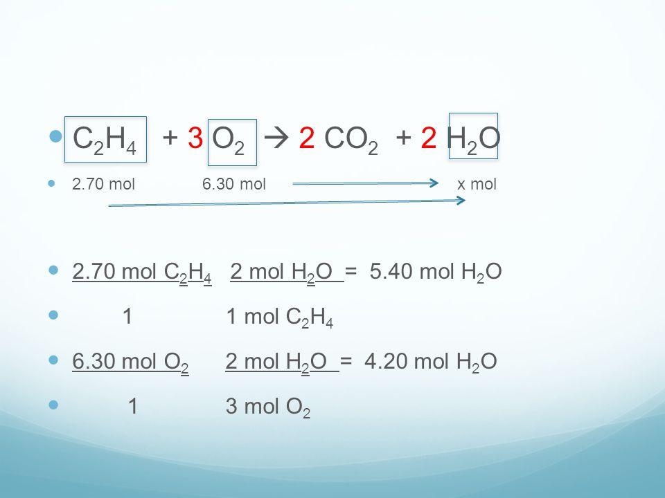 C2H4 + 3 O2  2 CO2 + 2 H2O 2.70 mol C2H4 2 mol H2O = 5.40 mol H2O