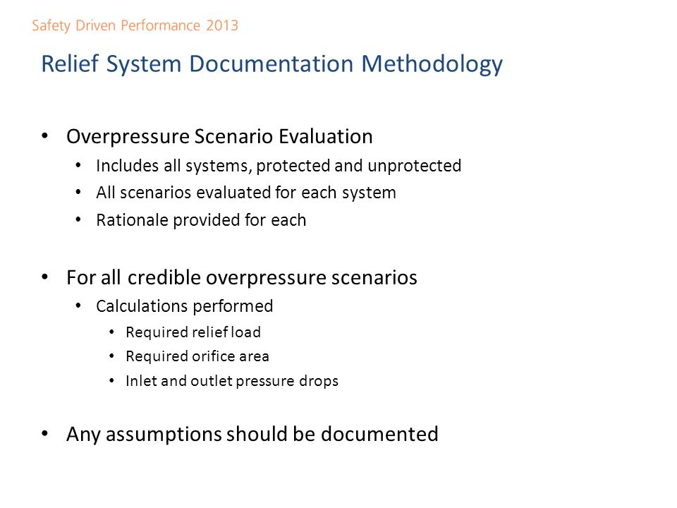 Relief System Documentation Methodology