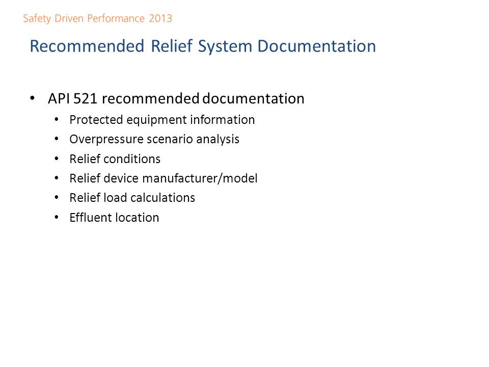 Recommended Relief System Documentation