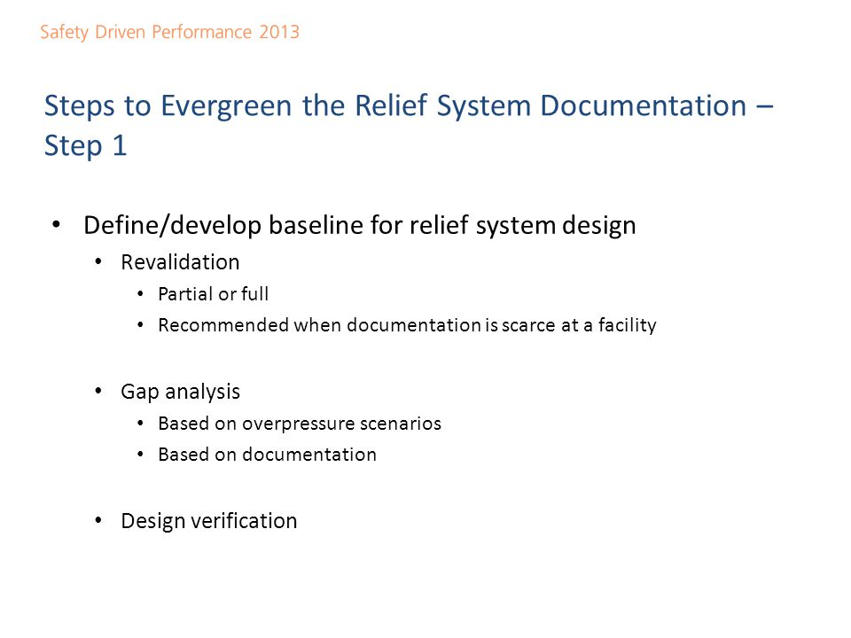 Steps to Evergreen the Relief System Documentation – Step 1