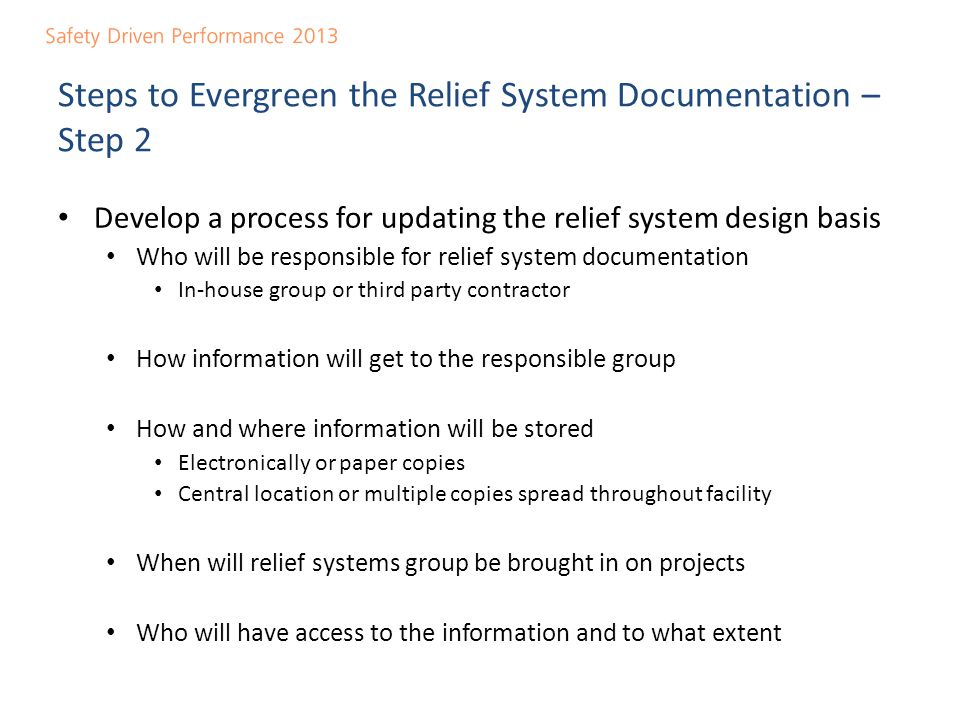 Steps to Evergreen the Relief System Documentation – Step 2