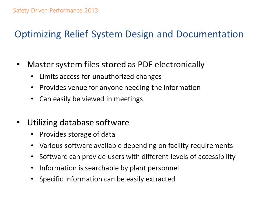 Optimizing Relief System Design and Documentation