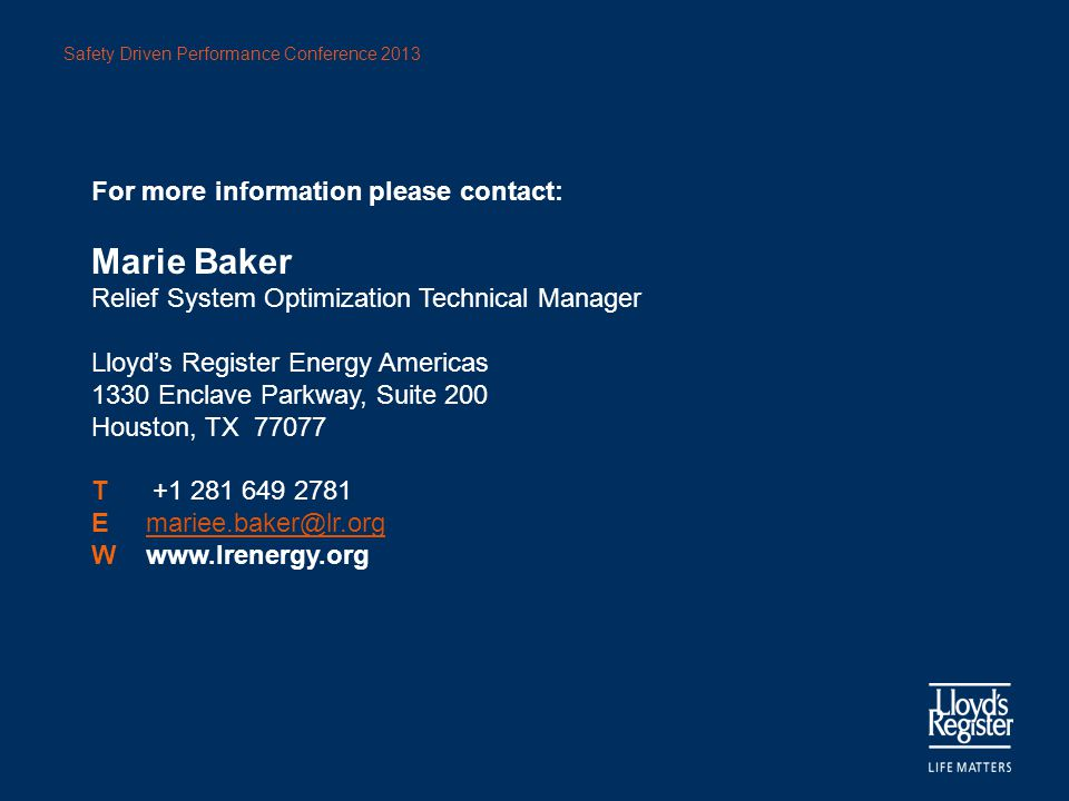 Marie Baker For more information please contact: