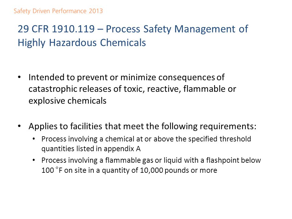 29 CFR 1910.119 – Process Safety Management of Highly Hazardous Chemicals
