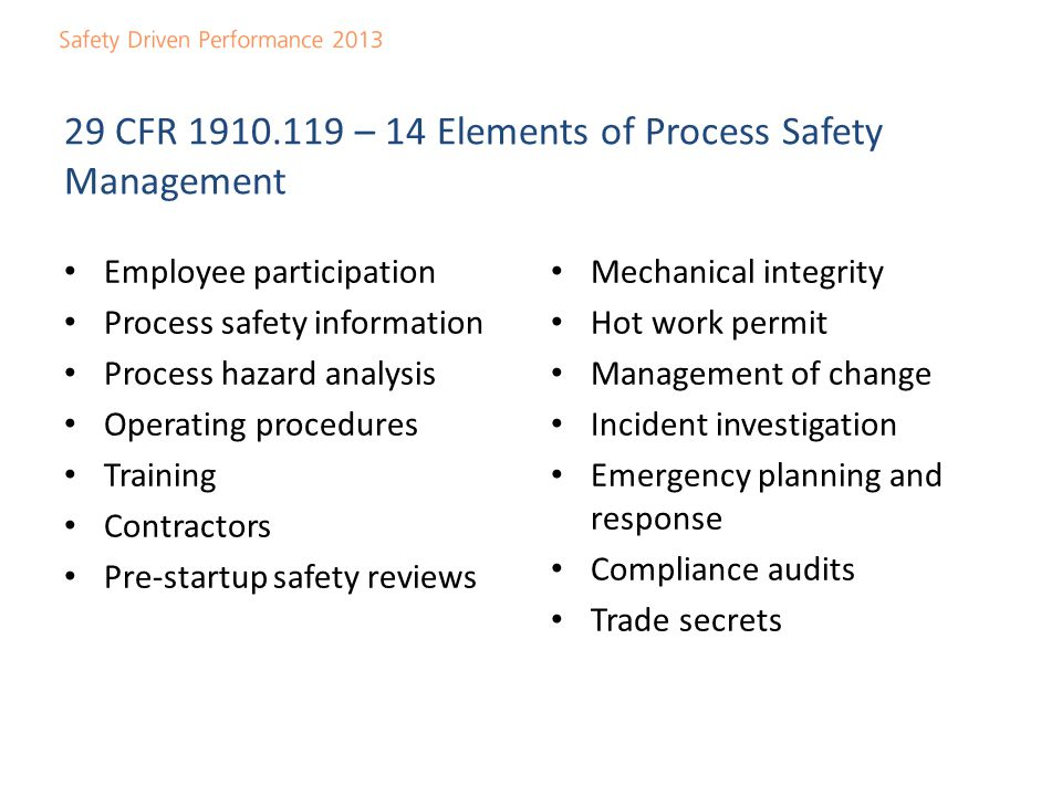 Safety driven performance ppt video online download 29 cfr 1910119 14 elements of process safety management pronofoot35fo Image collections