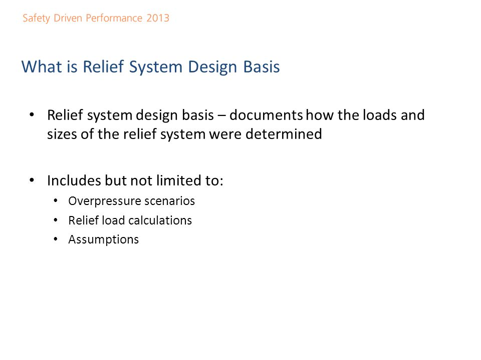 What is Relief System Design Basis