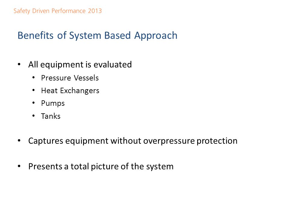 Benefits of System Based Approach
