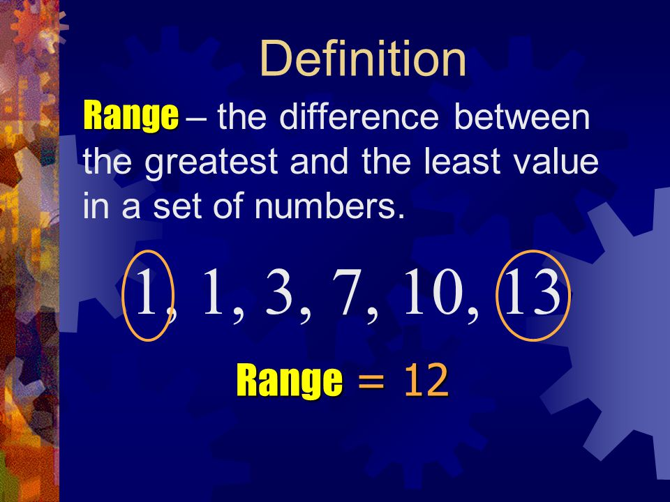 Definition Range – the difference between the greatest and the least value in a set of numbers. 1, 1, 3, 7, 10, 13.