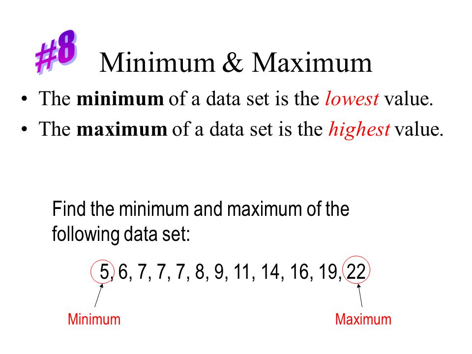 Minimum & Maximum #8 The minimum of a data set is the lowest value.